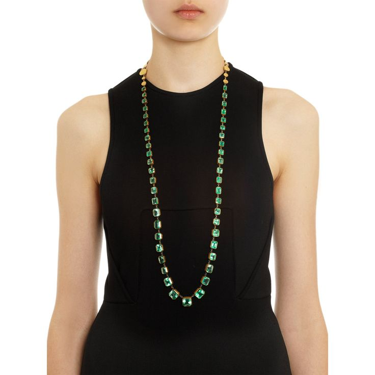 An operalength emerald and gold rivière necklace, by Judy Geib.
