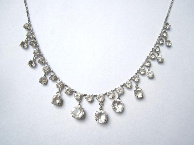 Antique 1920s Pools of Light Faceted Rock Quartz Crystal Gold Filled Necklace