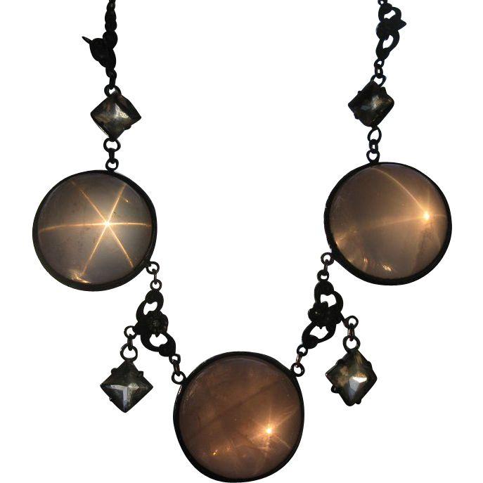Antique Star Rose Quartz Pools of Light Sterling Necklace