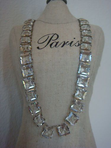 Antique Vintage Open Back Crystal Deco Necklace Germany Sparkles Emerald Cut | e...