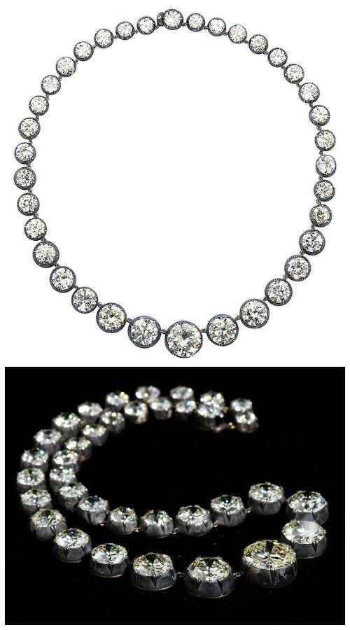 Antique graduated diamond necklace; 85.90 carats.