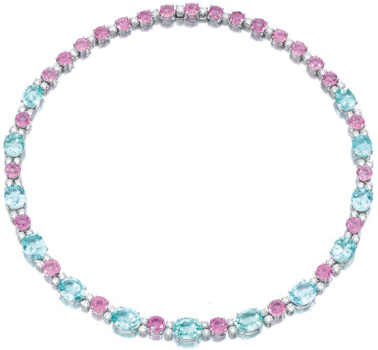 Diamond, pink sapphire, and pariaba tourmaline necklace, Michele Della Valle. Vi...