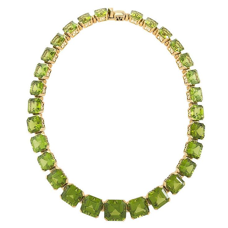 Dolce & Gabbana Estate Peridot and Gold Rivière Necklace | From a unique collec...