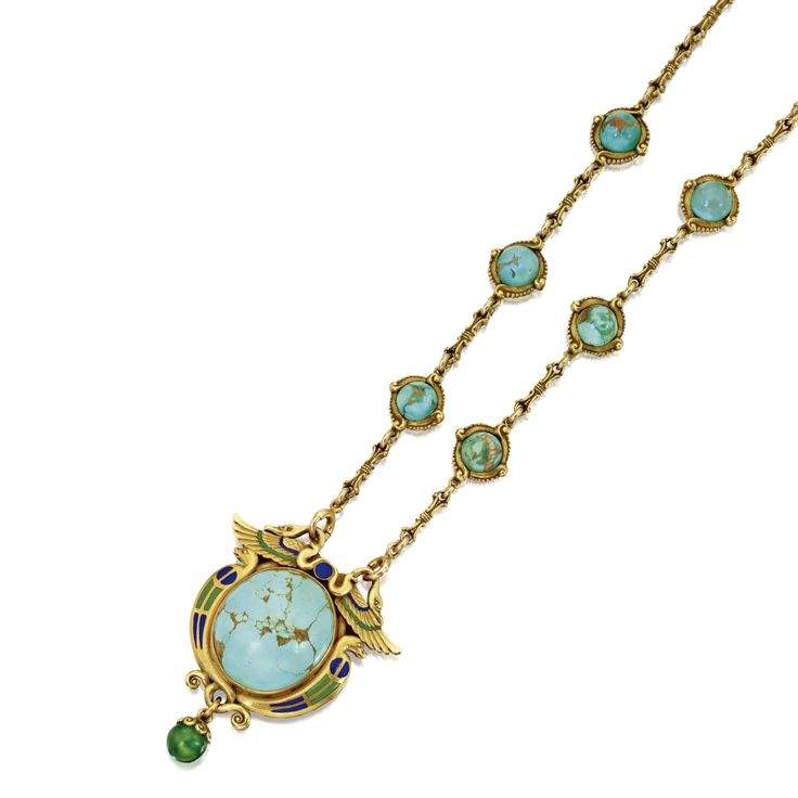 Egyptian-revival turquoise, enamel and gold necklace, by  Marcus & Co., circa 19...