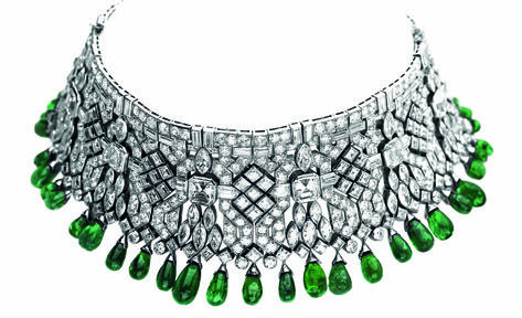 Emerald and diamond collar.