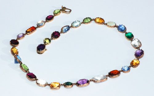 Georgian riviere necklace set in gold with gemstones and paste set in cut down s...