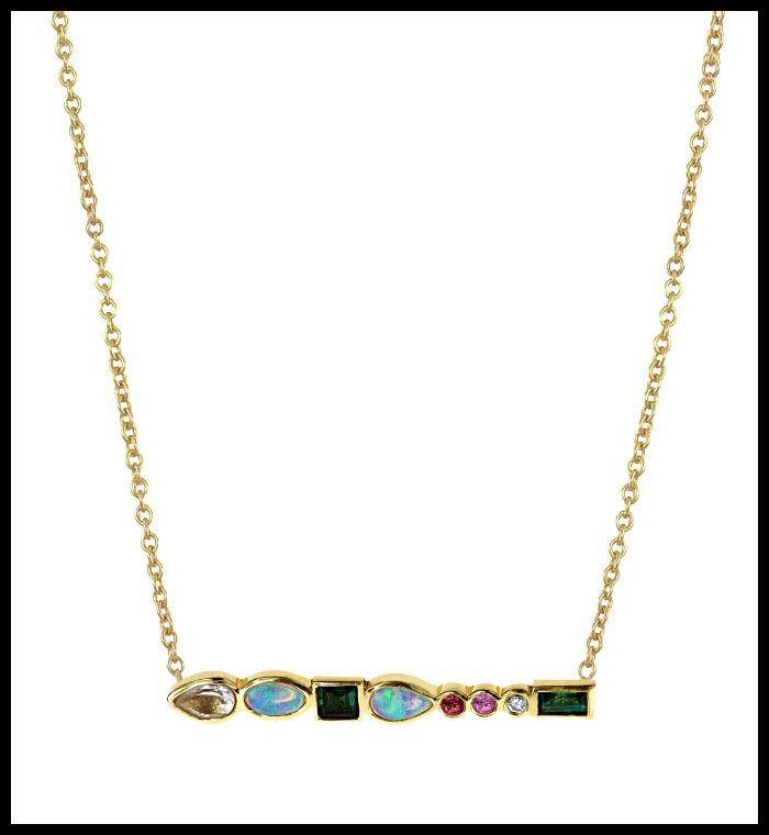 Ilana Ariel's Stepping Stone necklace in yellow gold with colorful gemstones...