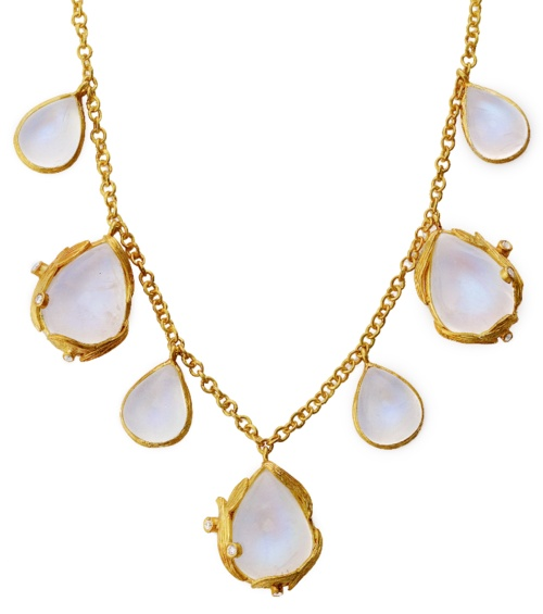 Laurie Kaiser Lemongrass Necklace in moonstones and diamonds.