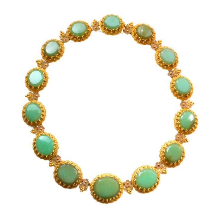MAISON FOSSIN georgian chrysoprase necklace  FRANCE  circa 1830  An 18 carat gol...