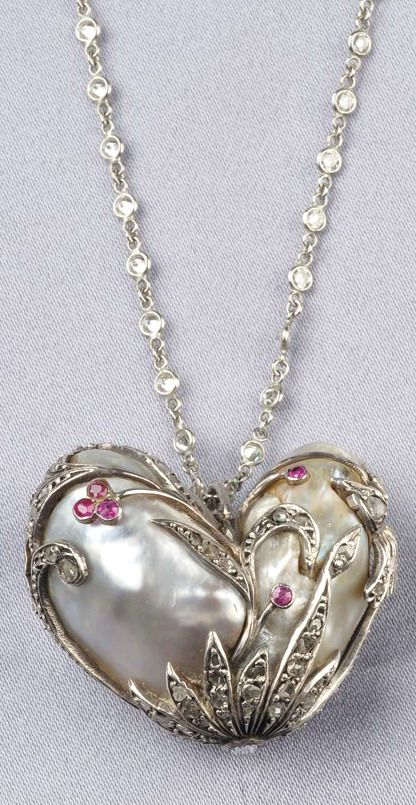 Natural Baroque Pearl Pendant, the heart-shaped cream and light grey baroque pea...