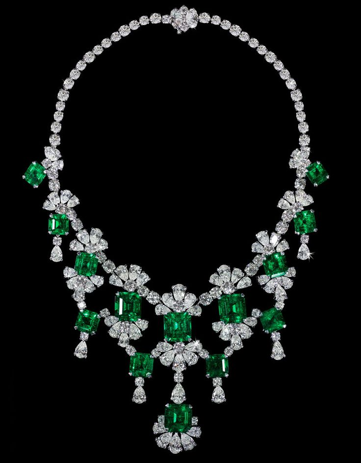 Old-Mine Natural Colombian Emerald & Diamond Necklace. Total Emerald Weight 83,9...