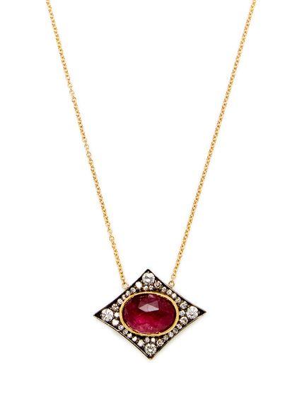 Pink Tourmaline & Diamond Station Necklace