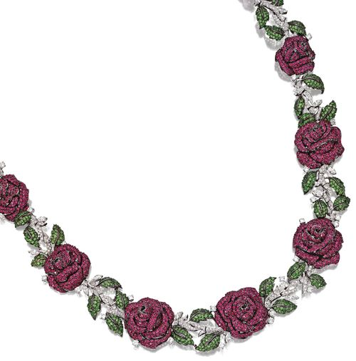 Ruby, garnet and diamond 'rose' necklace.    Designed as a garland of eight ...
