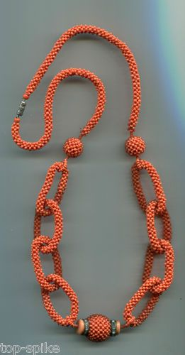 Stunning Vintage Antique Hand Woven Coral Colored Seed Bead Necklace 1930's ...