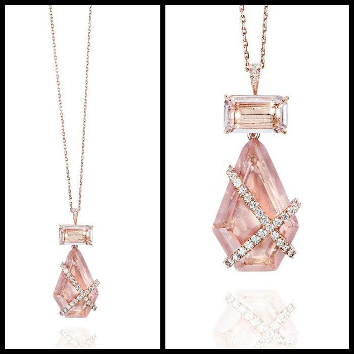 The Denise II pendant by Rachel Sarc – an 18kt rose gold pendant with rose qua...