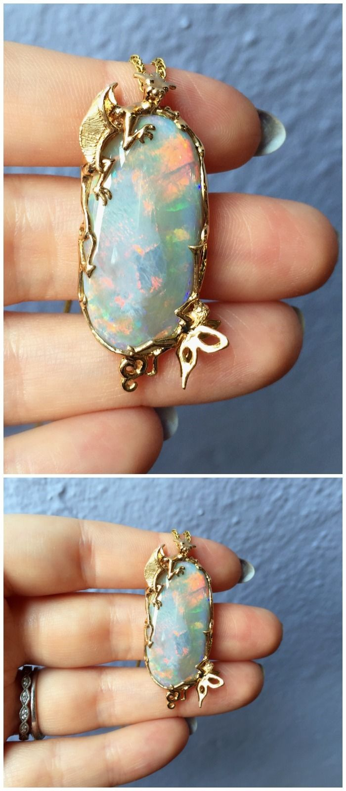 The beautiful dragon and fairy opal pendant, handmade in yellow gold by Hunt Cou...