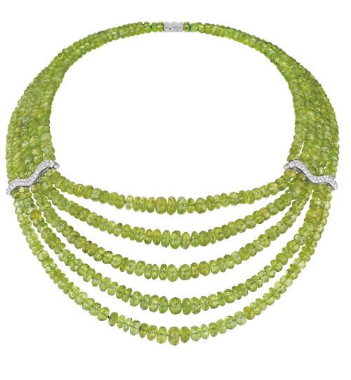 This bold five row necklace isn't how I usually picture peridot. What do you t...