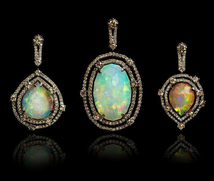 Three amazing Annoushka Ethiopian opal pendants with diamonds.