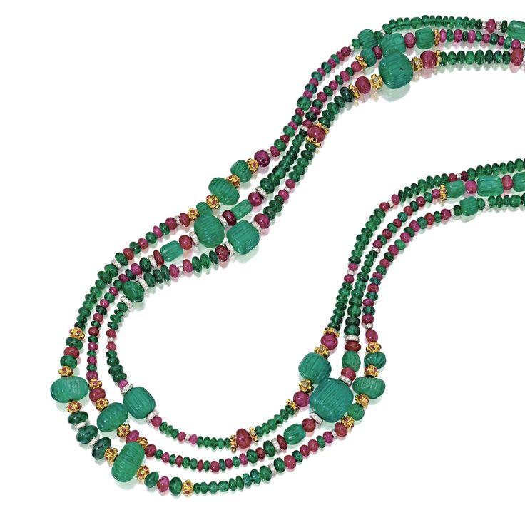 Three emerald, ruby, diamond, gold and platnum necklaces.