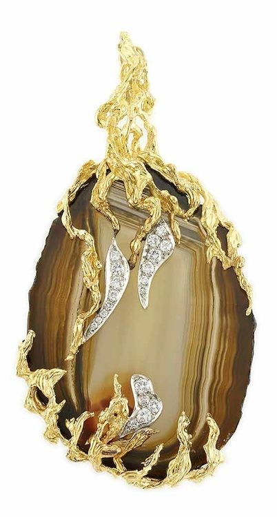 What do you think of this agate, gold, and diamond pendant? I think it's fabul...