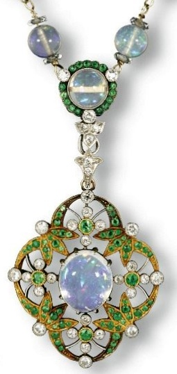 demantoid garnet, opal, and diamond necklace.
