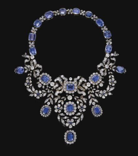 the Habsburg Sapphire Parure of Empress Marie-Louise of France. Sapphire and dia...