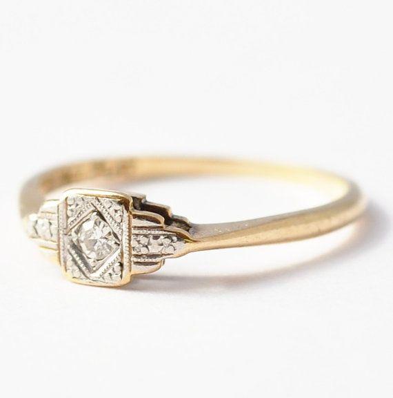 Antique Engagement Ring Art Deco Diamond by BlueRidgeNotions, $275.00