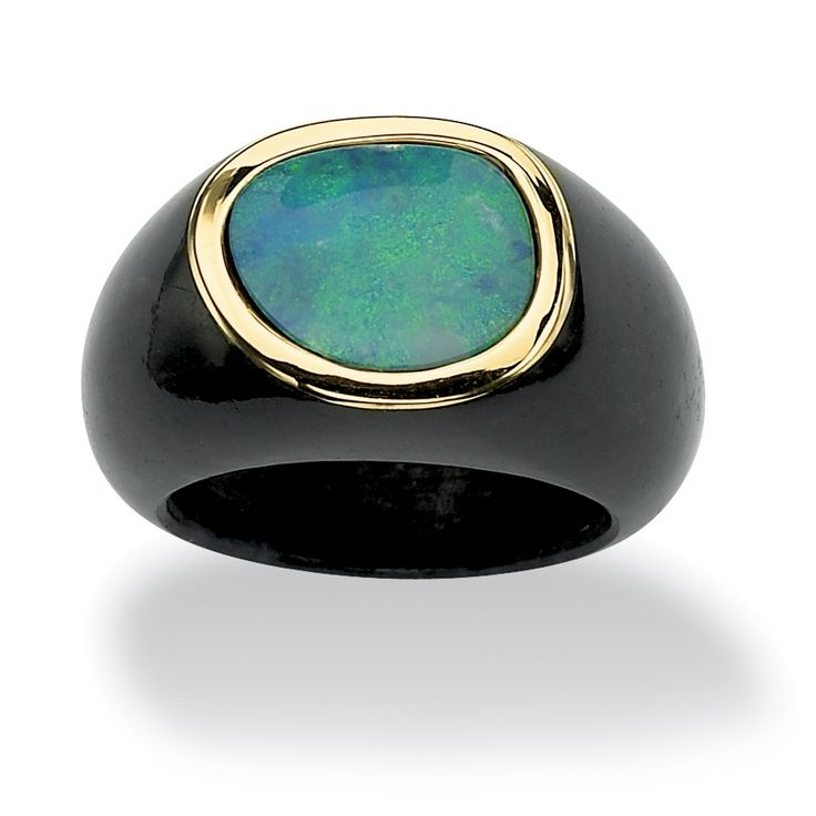 Blue opal and black jade ring10-karat yellow gold jewelryClick here for ring siz...