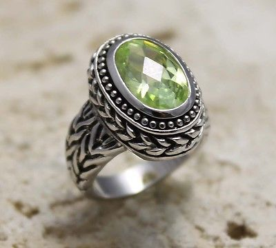 DESIGNER STYLE OVAL PERIDOT CZ WITH BALI CHAIN LOOK BAND RING SIZE # 6