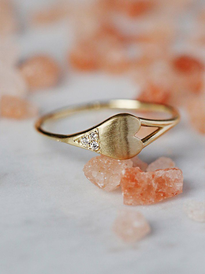 Diamond Dipped Heart Ring | Handmade in California, this beautiful 14k yellow go...