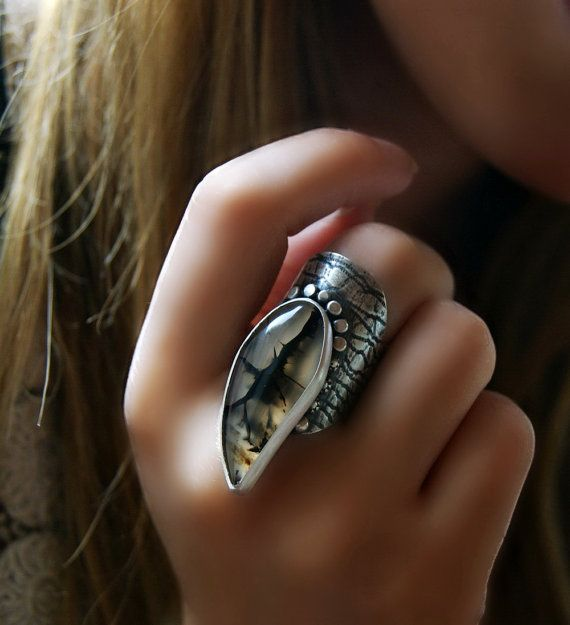 Ember of the Forest – Montana Agate Sterling Silver Ring