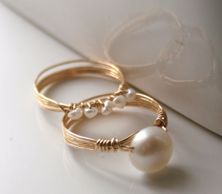 Rings Ideas : Freshwater pearls wire-wrapped stacking rings ...