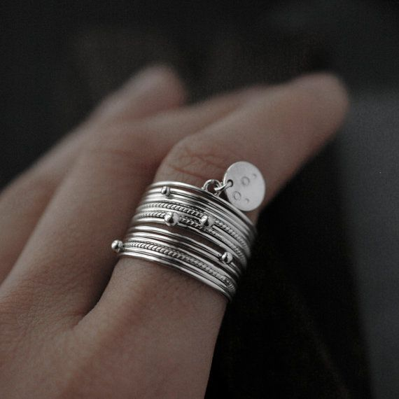 Galactical silver 14 stacking rings by Minicyn on Etsy, €155.00