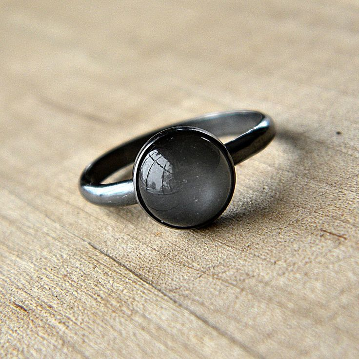 Grey Moonstone Ring, Platinum Gray Moonstone and Oxidized Sterling Silver Ring -...