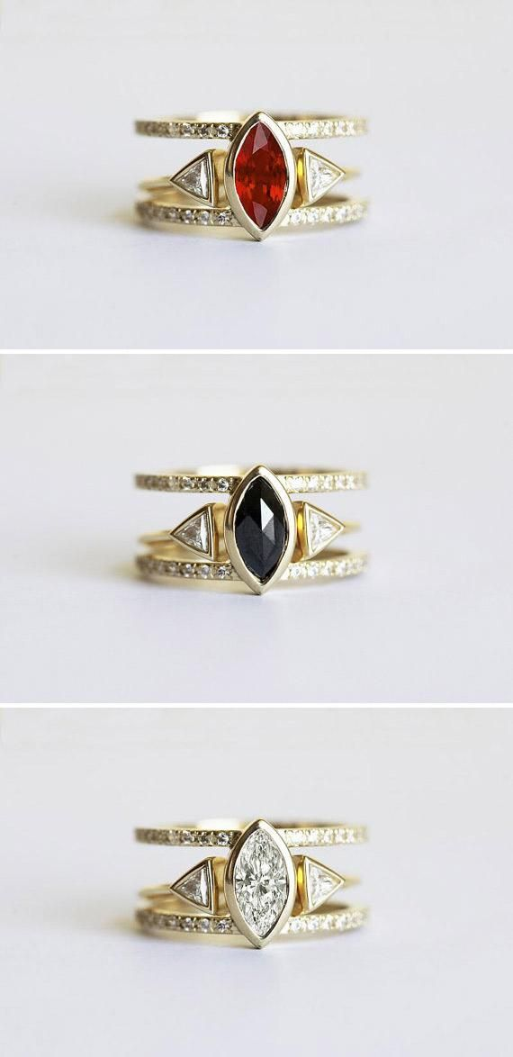 One ring, three ways: Etsy seller Capucinne's glam stacking wedding ring sets pr...