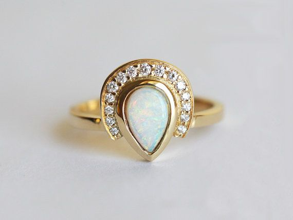 Opal Engagement Ring, Diamond Opal Ring, Pear Opal Ring, Unique Engagement Ring,...