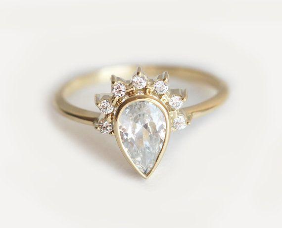 Pear Diamond Engagement Ring With Prong Set Diamonds by MinimalVS