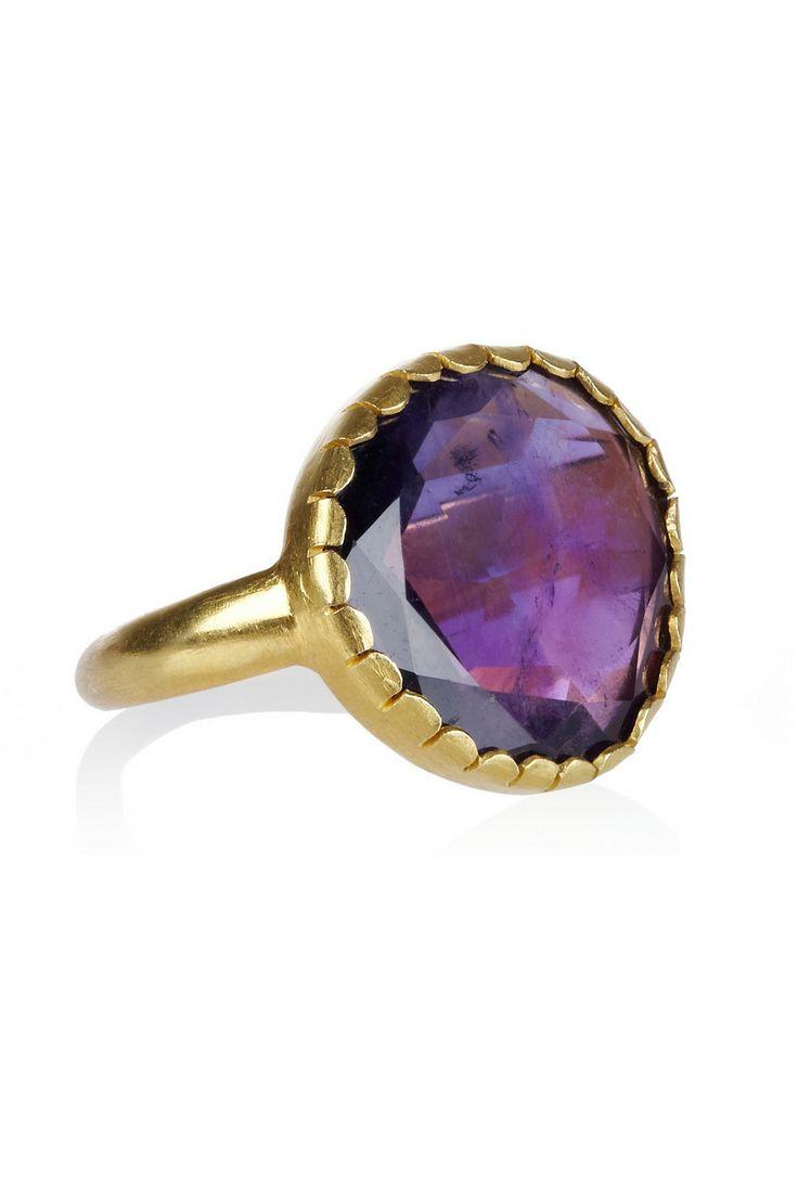 Pippa Small|18-karat gold amethyst ring | net-a-port...