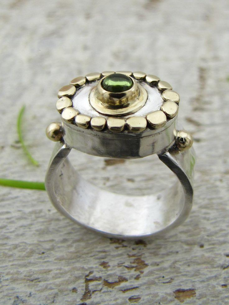 Ring | Osnat Omiya. Sterling silver, 14k gold and green Tourmaline
