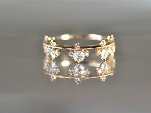 Rose Cut Diamond Crown Ring