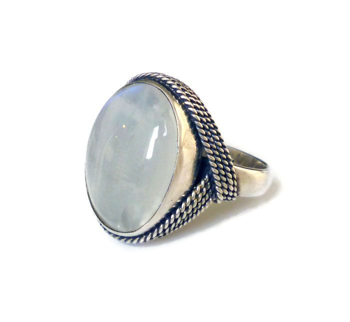 Sterling Chalcedony Ring, Silver 925, Milky White, Puple Blue Tint, Twist Rope, ...