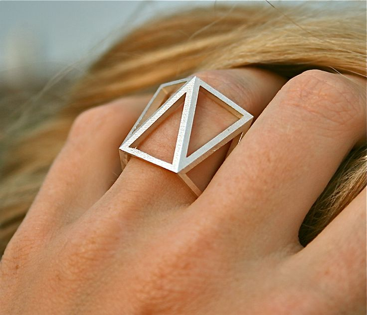 Sterling silver faceted modern geometric ring