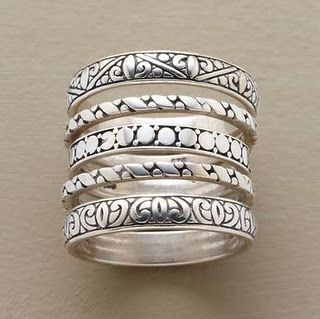 Sterling silver stacking rings.
