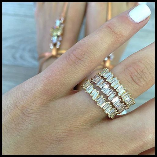 Suzanne Kalan baguette eternity rings from the Devoted collection in 18k gold an...
