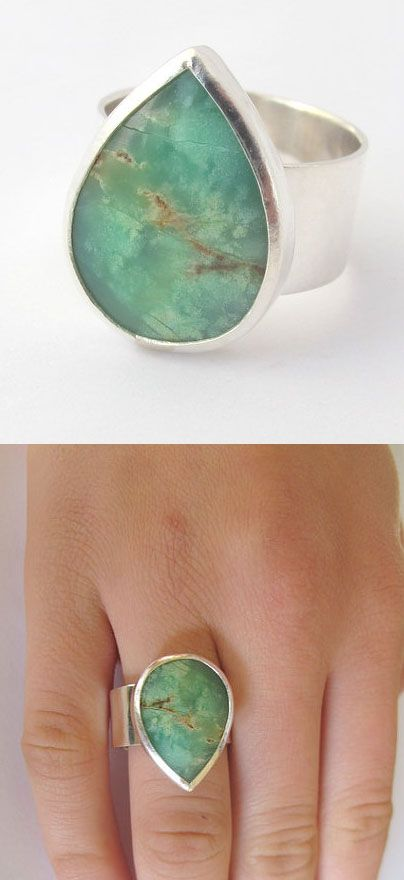 Teardrop turquoise ring