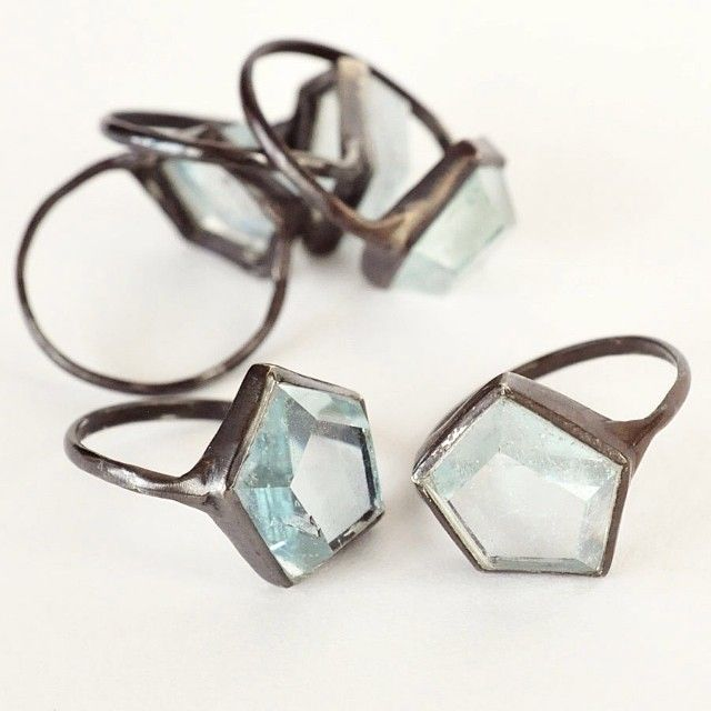 The aquamarine Hex rings by Aesa