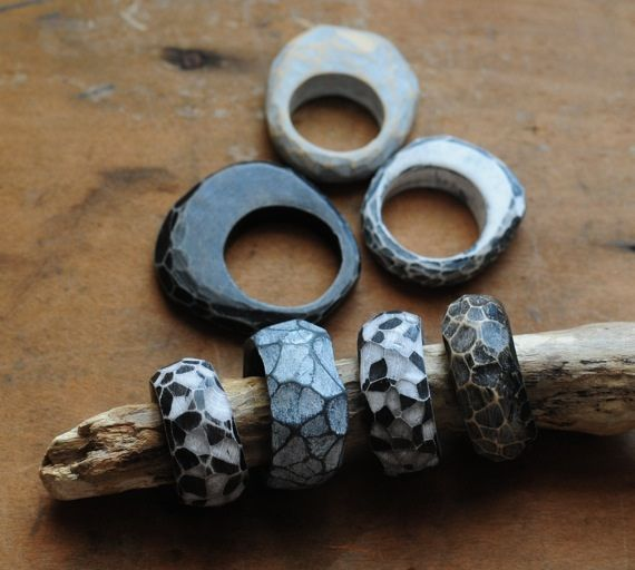 carved fragment rings by jibby and juna.