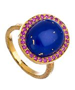Gold Lapis and Hot Pink Sapphire Kori Ring