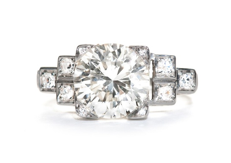 Oakwood is a vintage Art Deco ring  from the Trumpet & Horn collection.  2.86ct ...