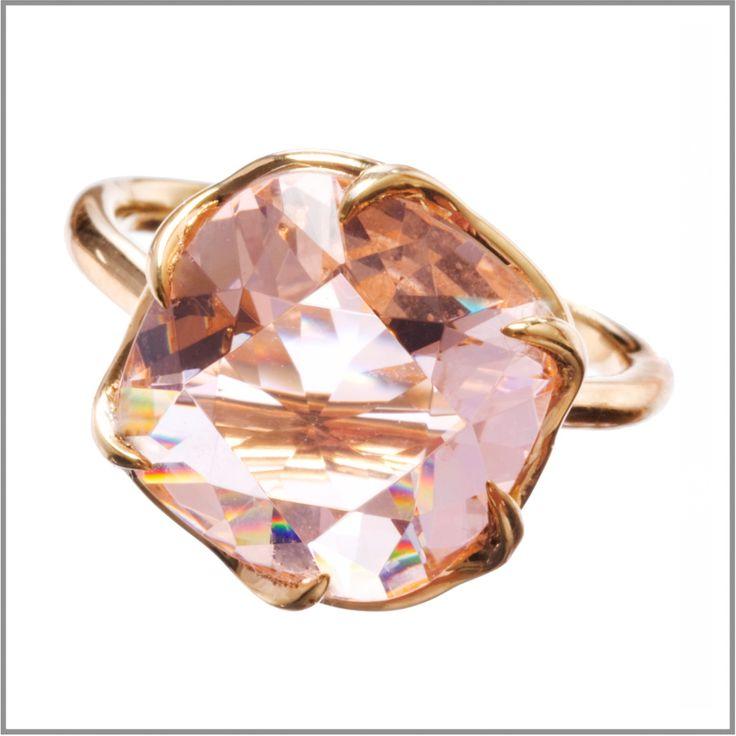 Sculpted Sparkle Ring - Peach: Size 7 - Amanda Pearl